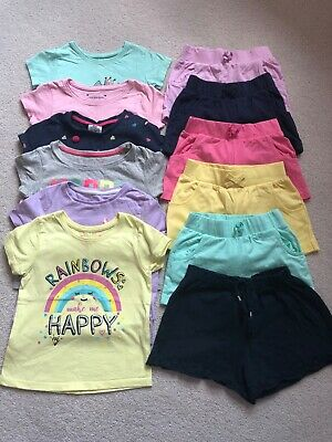 Bundle Of Girls 6 Summer Shorts And 6 Tshirts 3-4 Next, George, M&S