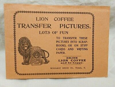 1890's Lion Coffee Children's Transfer Pictures Book Unused Made in Germany