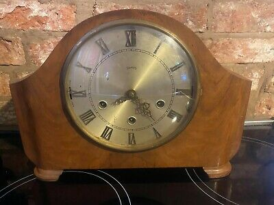 Vintage Smiths Walnut Mantle Clock Westminster and Whittington Chimes