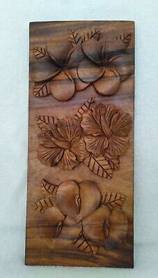 Hawaiiana Unique Hand Crafted  Koa Wood Panel Carving