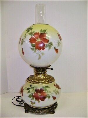 Antique Hand Painted Gwtw Oil Lamp Electrified