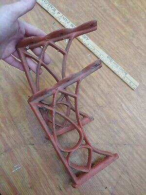 PAIR OF ORNATE ANTIQUE CAST IRON SHELF BRACKETS thick 1800s large sized red
