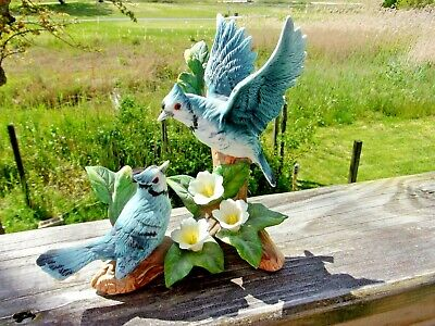 VINTAGE WESTMINSTER Bluebirds HAND PAINTED PORCELAIN BISQUE FIGURINE-W. TAG