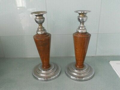Vintage Pair Of Art Deco Turned Oak And Chrome Candle Sticks
