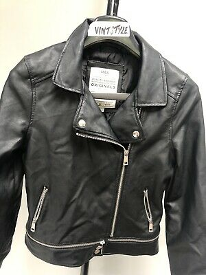 Girls Marks & Spencer Faux Leather Biker Jacket Age 12/13