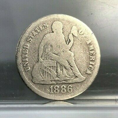 1886 Seated Liberty Dime ~ 90% Silver ~ Circulated U.S. Coin