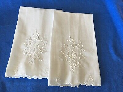 Fine Linen Embroidered Hand Towels Two
