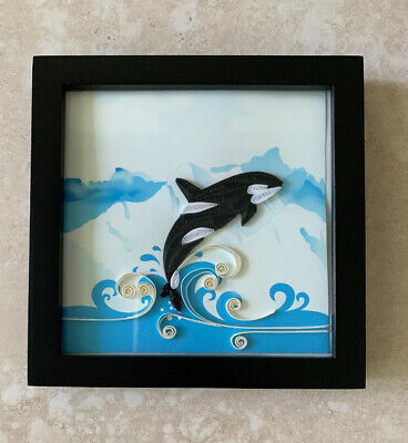 """Quilled Artwork Orca Whale Framed 5.5"""" x 5.5"""" Paper"""