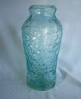 """Antique Aqua Glass Large 12.5"""" Store Counter Top Pickle Jar Old Sheered Top"""