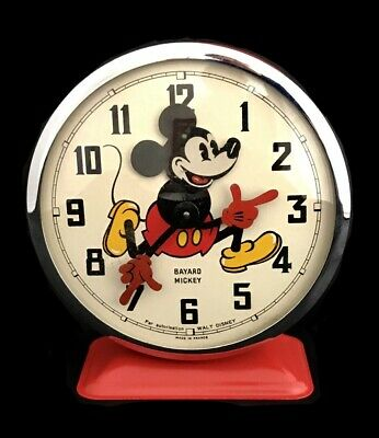 Bayard Made In France Réveil Mickey Walt Disney En Métal Rouge Vintage 1960