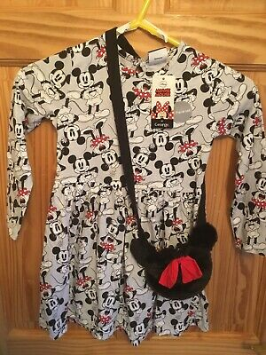 Bnwt Girls George Micky And Minnie Mouse Dress And Bag Set Age 4-5