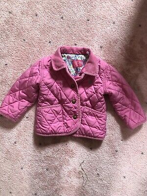 Joules Baby Girls Pink Quilted Jacket Coat Age 12-18 Months