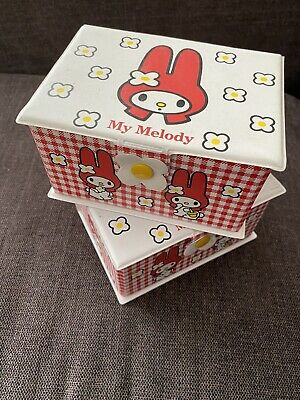 My Melody Sanrio Hello Kitty Vintage Vinyl Red Trinket Boxes gingham Two