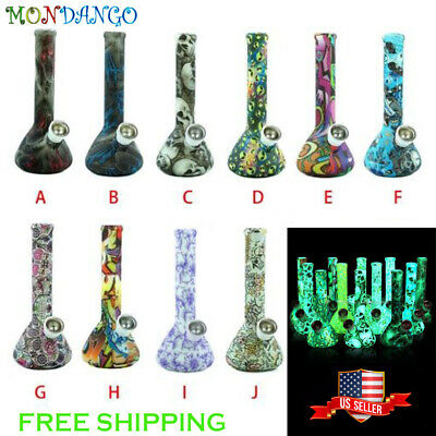 """7.5"""" Silicone Smoking Water Pipe Bubbler  Glow in the Dark  Multiple Styles"""