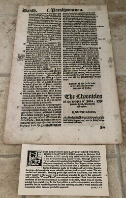 Mysterious Matthews Bible London 1551 Manuscript From The Fourth & Last Edition