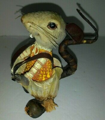 Vintage Rat Figurine Statue Resin Dressed up in Suspenders Soft Wire Tail Moves