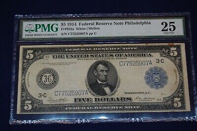 1914 $5 FIVE DOLLARS FEDERAL RESERVE NOTE-PHILA  Fr#855a  PMG-25-VERY FINE