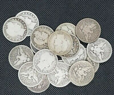 Lot of (20) Barber Quarters 1892-1916 90% Silver   GOOD or Better!