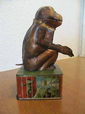Monkey With Tray Mechanical Bank - All Original