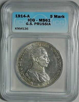 1914-A Germany Prussia 5 Mark Silver Uncirculated ICG MS61 KM 536