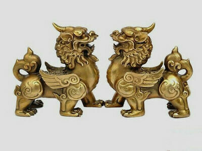 11cm Antique Brass bronze Fengshui carved Kylin unicorn pixiu old statue pair