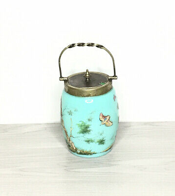 Vintage Hand Painted Glass Biscuit Jar Floral And Wildlife Design.