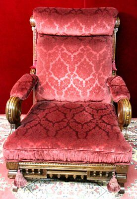 Eastlake Rocking Chair  Antique Carved High Back Pillow Arms  New Velvet RARE