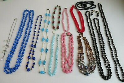 Lot 13 Vtg ALL GLASS Bead & Crystal Necklaces Multi color Multi & Single Strands