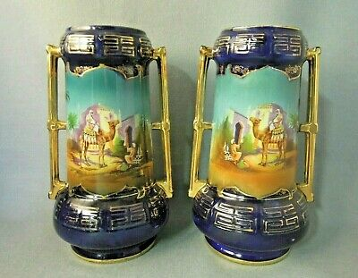 English Vases  Hand Painted  Man  Camel Gilded Cobalt Pair
