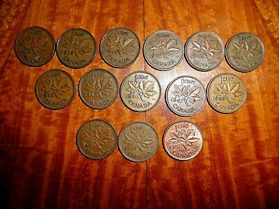 George VI Canadian Pennies Lot of 14 from 1938-1952 (1 each year missing 1949)