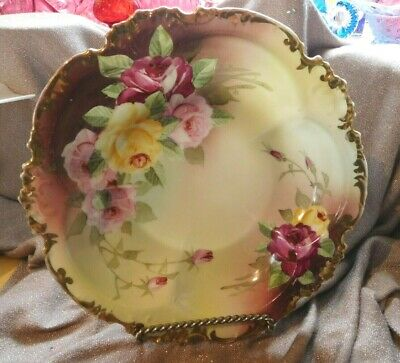 stunning Antique Porcelain Dish Handpainted Pin/red/yellow` Roses