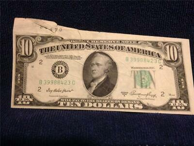 """$10.00 1950A Federal Reserve with """"Jammed Sheet on 3rd.& COOL Miscut""""~UNC w/EPQ"""
