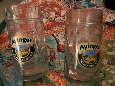 2 AYINGER Privatbrauerei 1 Litre 1L Heavy Glass Beer Steins Mug Germany Brewery