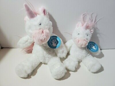 Lot (2) Manhattan Toy Lovlies Unicorn Plush Toys Stuffed Animals Small & Medium