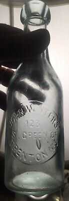 Rare John Winters 123 S Green St Trenton NJ AQUA Pony Beer Bottle Mercer County