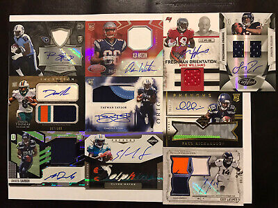 Lot Of 10 Football Rookie Auto Autograph Game Used Memorabilia Jersey Cards RPA
