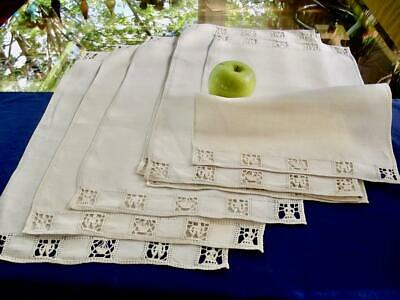 8 Antique Homespun Italian Linen Placemats Figural Needle Lace He & She & Basket