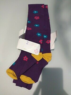 New *John Lewis* Girls Purple Cotton Rich Tights Age 11-12
