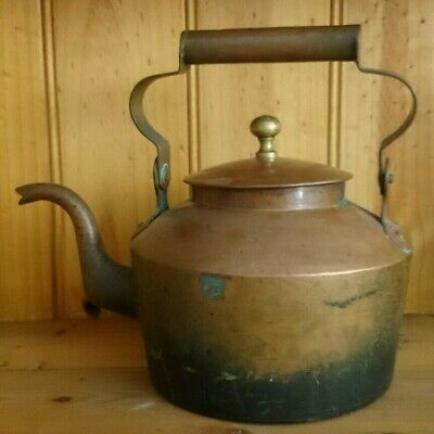 Large Antique 1800s Copper Kettle,Brass knob,In Original Condition