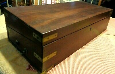 Extra Large Antique Victorian Table Top Walnut Writing Desk Wood Brass