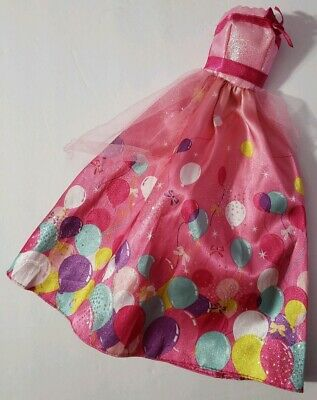 Barbie Doll Clothes Happy Birthday Princess Pink Gown Dress Glitter Baloons