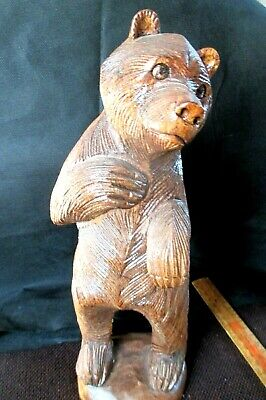 GIANT 30 CM forest bear  1940s carved  wood GOOD CONDITION