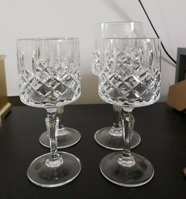 Mismatched Set Of Crystal Cut Glasses 5 small 1 large wine glass 1 short whiskey