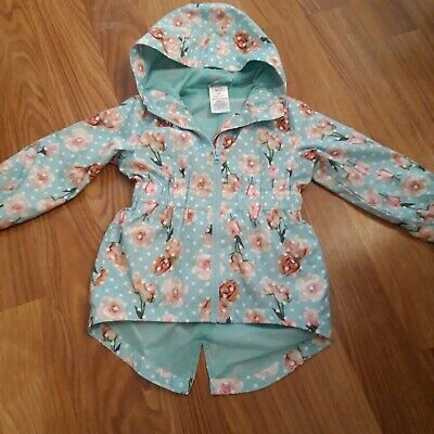 Girls Blue Thin Coat With White Spots And Pink Roses 2 Years
