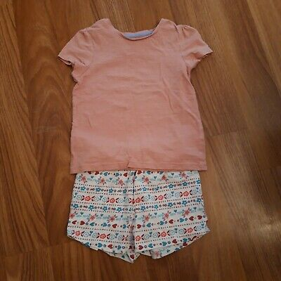 Girls Pink Tshirt And Blue and Red Floral Shorts Outfit Tu 2-3 Years
