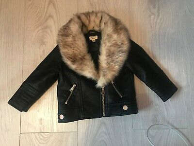 girls river island leather look jacket with fur hood 6-9 months