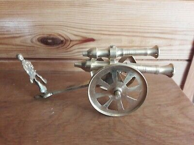 Vintage inspired cannon windows side table gold colour 16.5 cm long