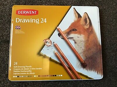 New Derwent 24 soft drawing pencils in tin FOX