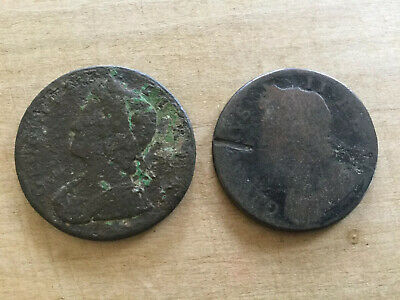 2 X George II Half Penny Copper Coins