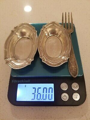Lot of 2  Sterling Silver Individual Open Salt Cellars & 1 Small Gorham Fork